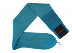 Knee-high Palatino socks in turquoise and beige