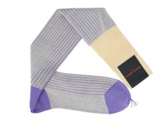Palatino double-faced beige and lilac over the calf socks