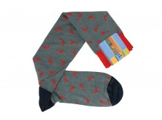 Gallo mid-calf socks in cotton gray with red sharks