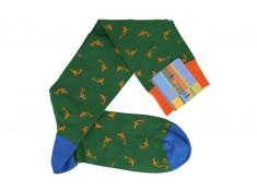 Green knee-high Gallo socks with orange shark motifs
