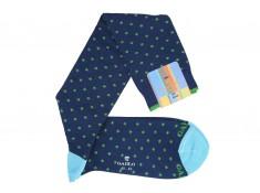 Navy blue, green polka dot, knee-high Gallo socks