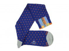 Chaussettes mi-bas Gallo bleu roi à pois orange