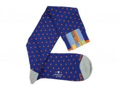 Knee socks Gallo royal blue with orange polka dots