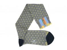 Chaussettes mi-bas Gallo grises avec des pois jaunes